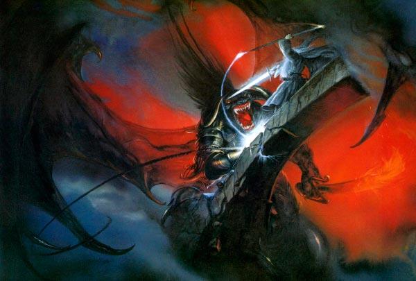 balrog vs galdalf em moria por john howe o senhor dos aneis silmarillion Figura do Slideshow #18