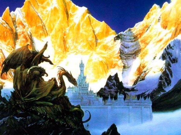 numenor por john howe o senhor dos aneis silmarillion dragao castelo Figura do Slideshow #7